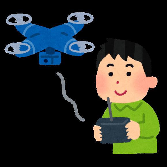 小型無人機ドローン型のラジコンを操作する男性