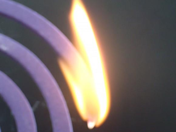 アース渦巻香・蚊取り線香に火が点いて燃え上がる瞬間