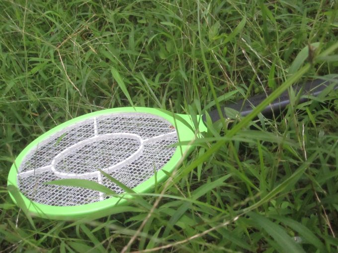 生い茂った雑草・草むらに馴染む電撃殺虫ラケット(笑)