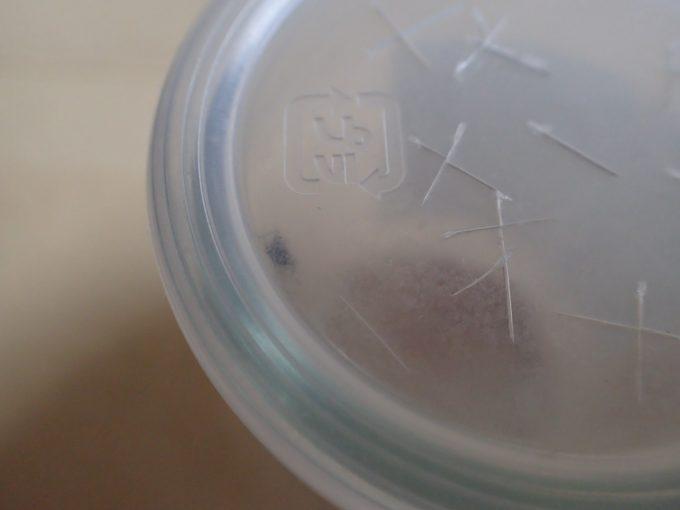 容器のフタのちょっとした隙間に入り込もうと必死になるヤブ蚊