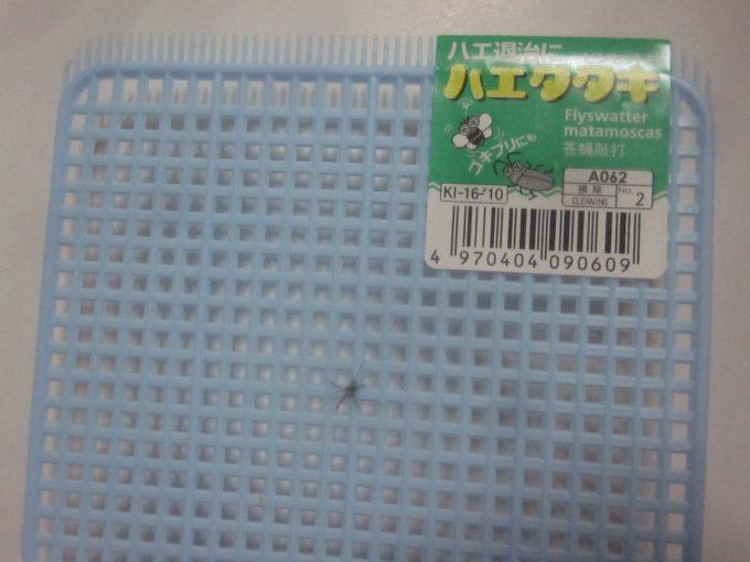 ハエタタキ(ハエ叩き)で害虫の蚊を退治した