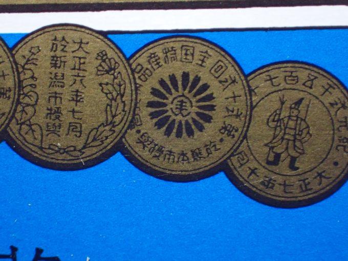 「金鳥の渦巻」のデザイン上部に配置された8つの紋を拡大してみた