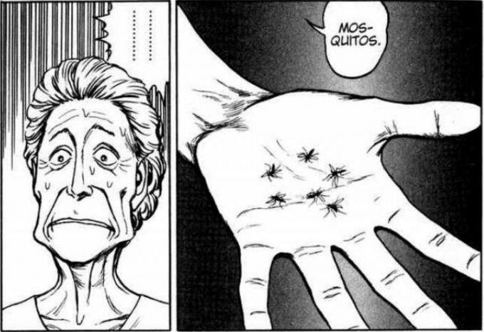 漫画『寄生獣』の1コマ(※素手で捕獲した蚊の死骸)
