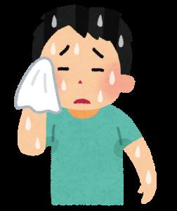 運動後の汗を拭う男性のイラスト