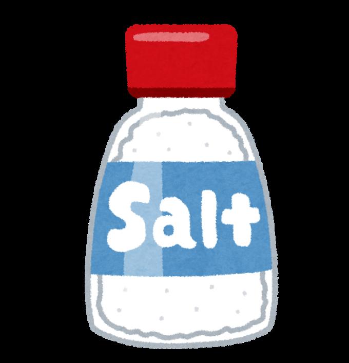 料理などに使われる家庭用の瓶に入った食卓塩のイラスト
