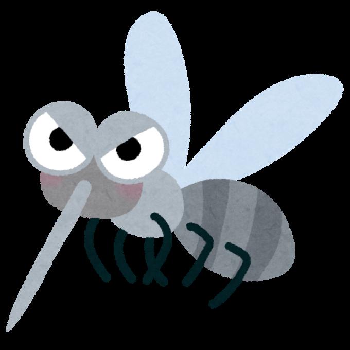 可愛い顔をした、蚊のキャラクターのイラスト