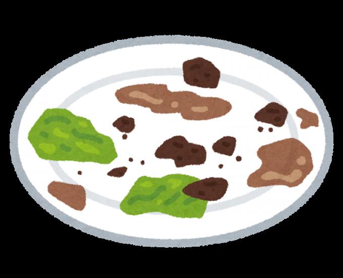 食卓で出た食べ残しの生ゴミ