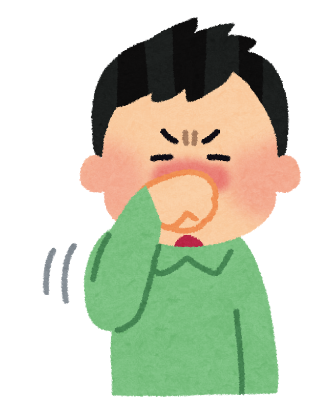 花粉症やアレルギー性鼻炎などで、鼻が痒くてこすっている人のイラスト