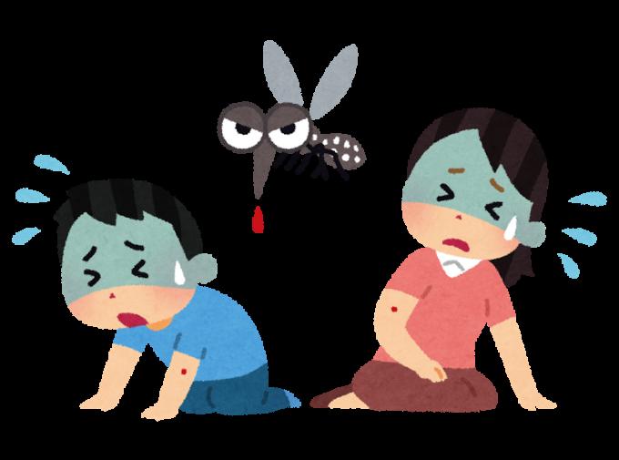 デング熱、マラリア、ジカ熱など、蚊が媒介して広がる感染症で倒れている人たちのイラスト