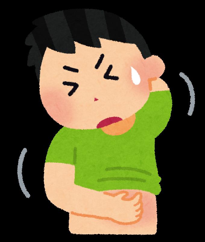 アトピーやアレルギーで痒くなって、体を引っ掻いてしまっている男の子のイラスト