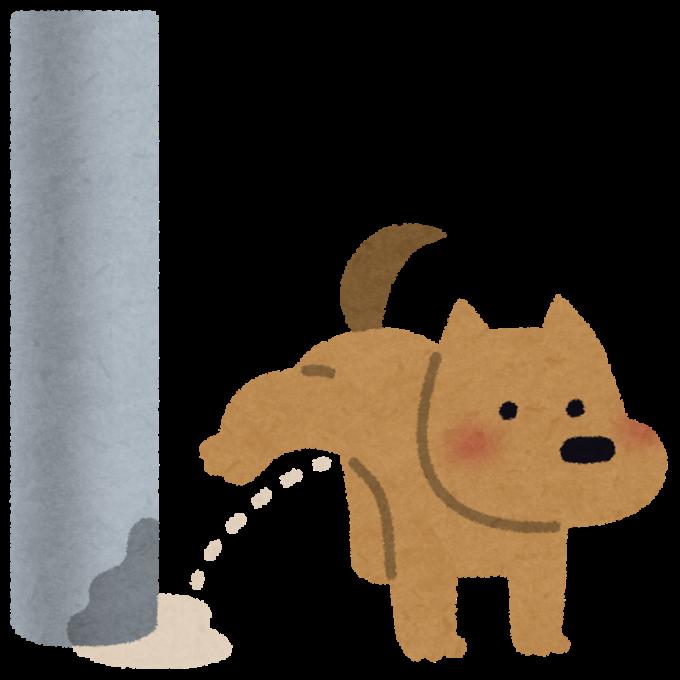 犬が電柱にオシッコするイラスト(かわいいフリー素材集いらすとや)