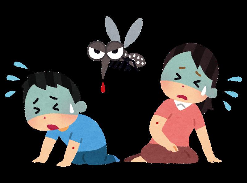 蚊に刺される人々のイラスト