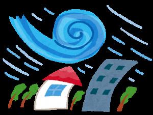 台風の暴風雨イラスト(いらすとや)